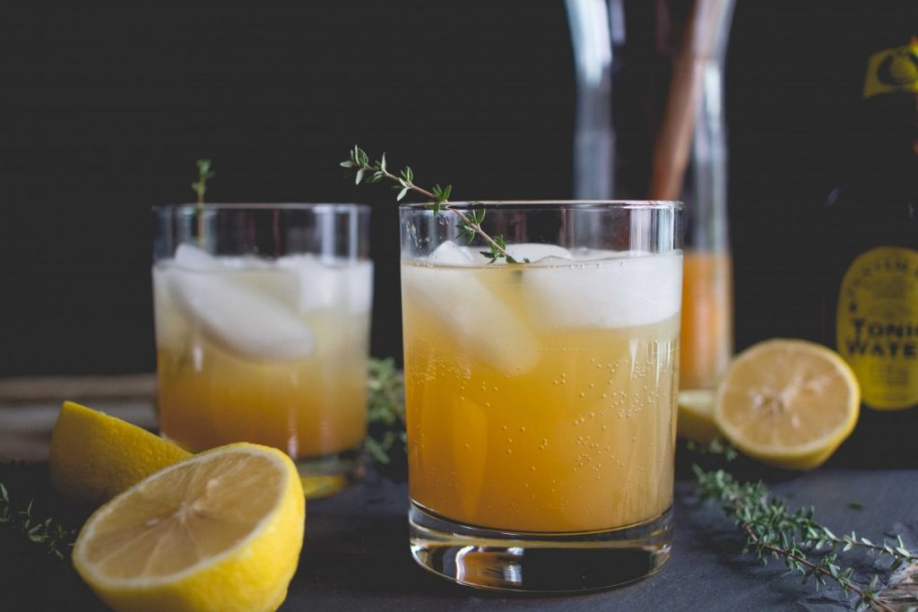 cider thyme and tonic mocktail