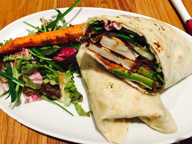 vegan wrap with side salad